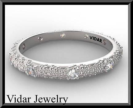 Stunning Statement Diamond 14k White Gold Woman Wedding Ring by Roi Avidar