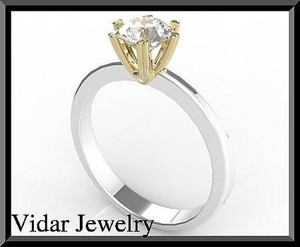 Stunning Two Tone Gold Diamond Engagement Ring - Heart Design by Roi Avidar
