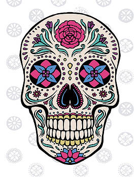 Sugar Skull On Gray by Janelle Penner