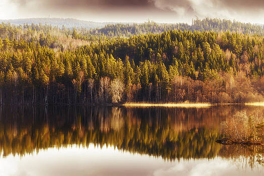 Summer Landscape Mirrored In Inland Lake by Christian Lagereek