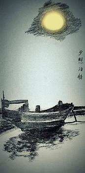Sun and boat by GuoJun Pan