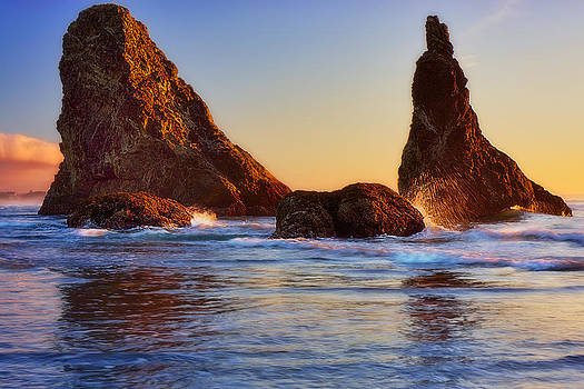 Sun Kissed Sea Stacks by Ray Still
