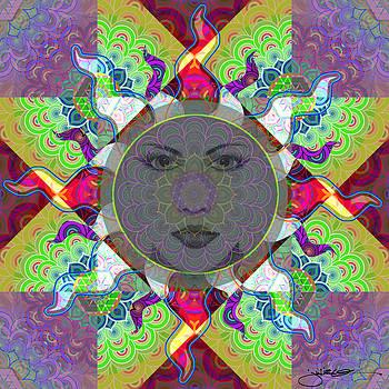 Sun / Lotus Mandala by Julie Oakes
