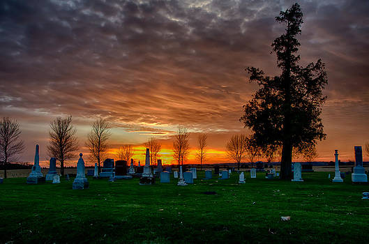 Sun Setting on Cemetery by Christopher L Nelson