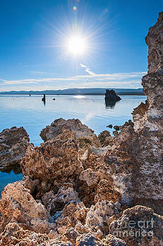 Jamie Pham - Sunburst - Strange Tufa Towers of Mono Lake in California.