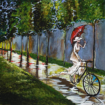Sunday Afternoon with Red Umbrella by Nancy Hilliard Joyce