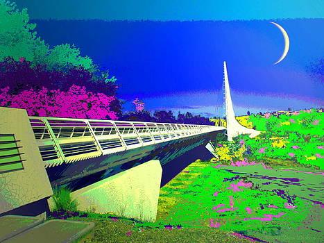 Joyce Dickens - Sundial Bridge Redding  CA Digitally Painted