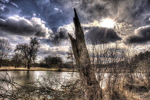 Sunfish Pond with Surreal Sky by Ed Cilley