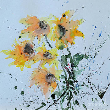Sunflower- Flower Painting by Ismeta Gruenwald