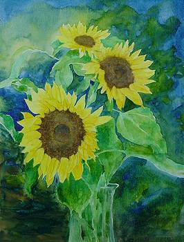 Sunflowers Colorful Sunflower Art of Original Watercolor by K Joann Russell
