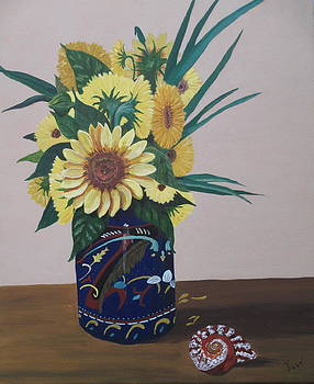 Sunflowers in Vase with Seashell by Hilda and Jose Garrancho