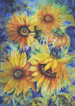 Sunflowers on Blue by Ann Nicholson