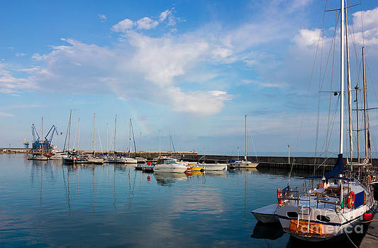 Sunny day in Balchik Harbor with a Colorful Rainbow by Kiril Stanchev