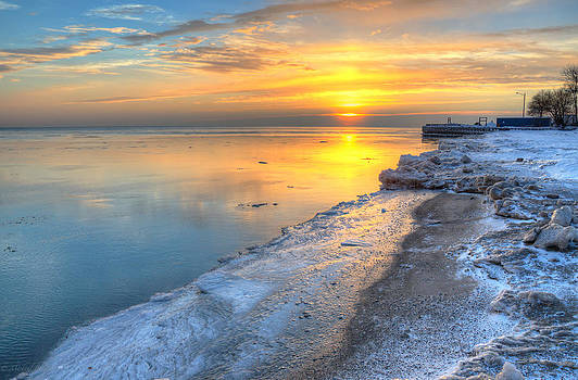Sunrise North of Chicago Lake Michigan 1-4-14 003 by Michael  Bennett