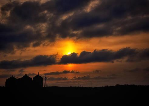 Sunrise Over Central Inidana Silos by Michael Huddleston