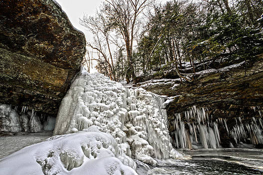 Sunrise Over Frozen Waterfalls by Jim Wilcox