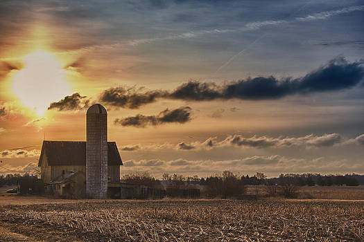 Sunrise Over Old Barn in Central Inidana by Michael Huddleston