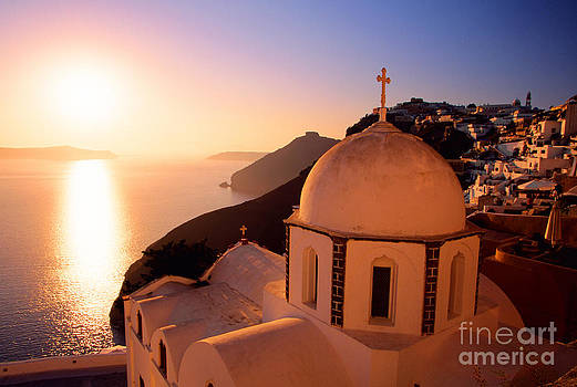 Sunset And Orthodox Church by Aiolos Greek Collections