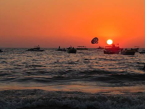 Sunset at Baga Beach in Goa India by Joe Zachariah
