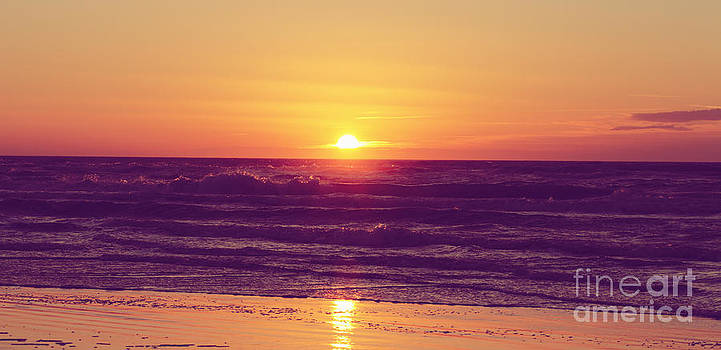LHJB Photography - Sunset at beach in vintage colors