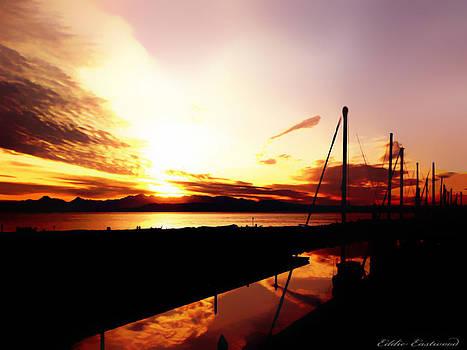 Sunset at Edmonds Washington Boat Marina 1 by Eddie Eastwood