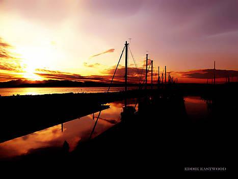 Sunset at Edmonds Washington Boat Marina 2 by Eddie Eastwood