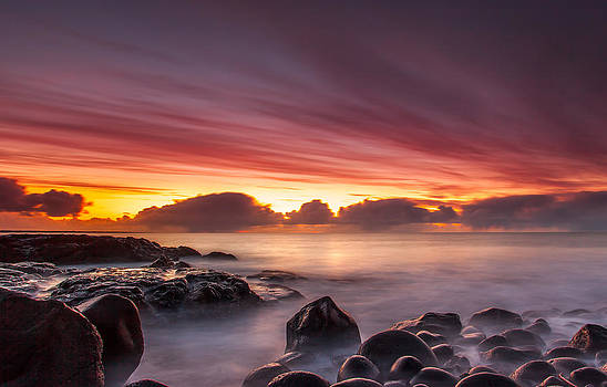 Sunset at Hvaleyri by Sigurbjorn Ragnarsson