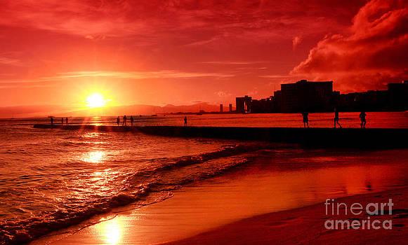 Sunset at Waikiki by Kristine Merc