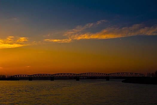 Sunset colours over Olt bridge by Eremia Catalin