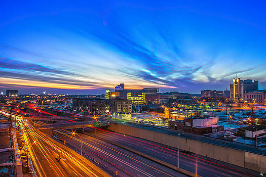 Sunset in Detroit by Nicholas  Grunas