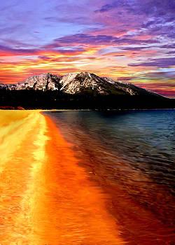 Sunset Lake Tahoe Painting by Bob and Nadine Johnston