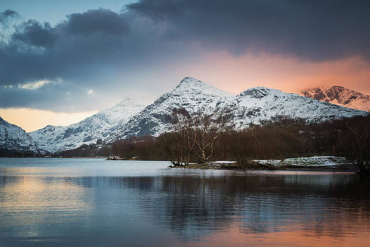 Sunset Mountain Glow Llyn Padarn by Christine Smart