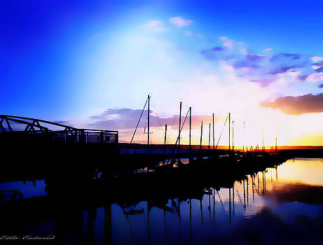 Sunset on Edmonds Washington Boat Marina by Eddie Eastwood
