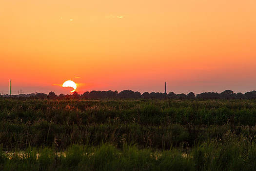 Sunset Over Crawfish Pond by Christen Weber