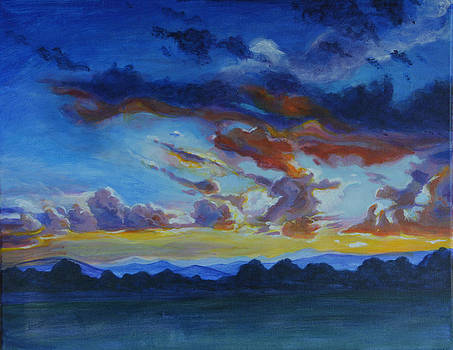 Sunset over foothills by Renee Peterson