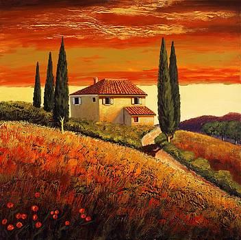 sunset over Tuscany  2 by Santo De Vita