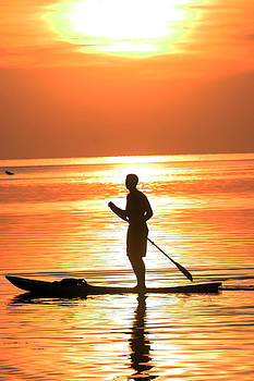 Sunset Paddleboarder by Brian Sevald
