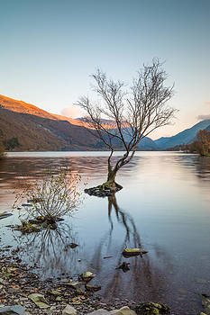 Sunset Reflections at Llyn Padarn by Christine Smart