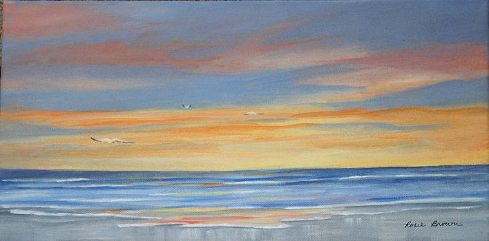 Sunset Reflections - Beach Sand Waves by Rosie Brown