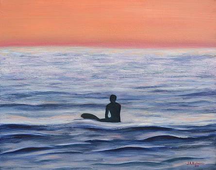 Sunset surfer at Swami's Reef in Encinitas by Jennifer Richards
