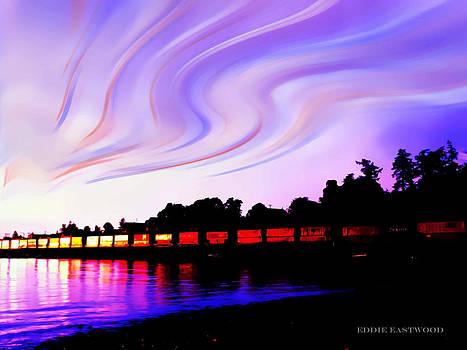 Sunset Train at Richmond Beach Washington by Eddie Eastwood