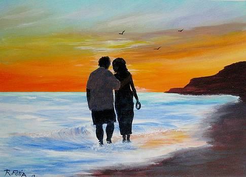 Sunset Walk on the Beach by Rich Fotia