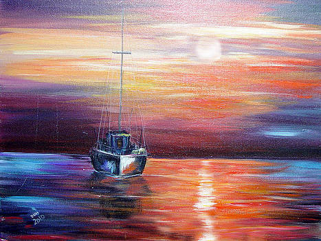 Sunset with Boat by Dorothy Maier