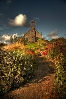 Sunshine And Shadows At The Church by Anne Macdonald