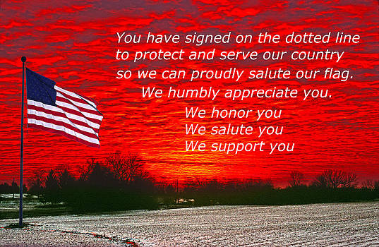 Randall Branham - Support OUR Troops flag red sky