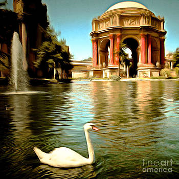 Wingsdomain Art and Photography - Swan at The San Francisco Palace of Fine Arts 5D18069 Square