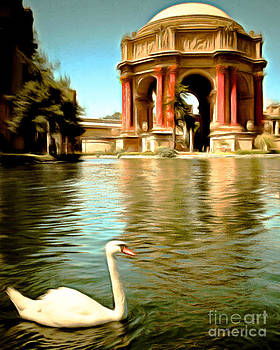 Wingsdomain Art and Photography - Swan at The San Francisco Palace of Fine Arts 5D18069 Vertical