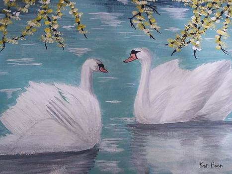 Swans On Pond by Kat Poon
