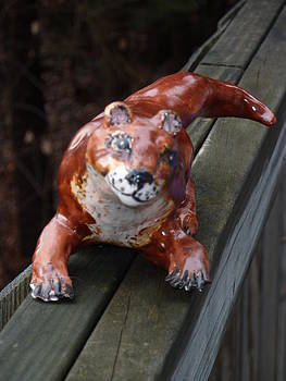 Sweet Faced Otter Sculpture by Debbie Limoli