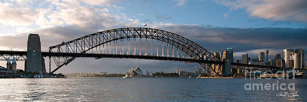 Sydney Harbour Bridge at Dawn.  Art photo digital download and wallpaper screensaver. DIY Print. by Geoff Childs